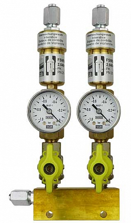 Manifold ext. 2 pipes, shut-off valves, gauge -1 to 0bar, FU6/4