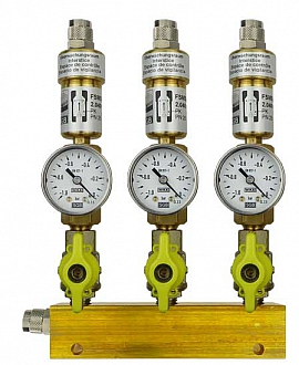 Manifold ext. 3 pipes, shut-off valves, gauge -1 to 0bar, QU8/6
