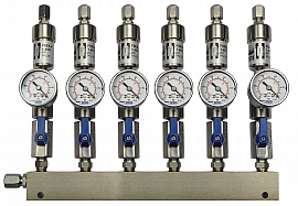 SS-manifold ext. 6 pipes, shut-off valves, gauge -1 to 0bar, ss-CF8/6