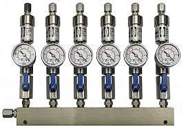 Manifold 6 pipes underpressure, ss, S, valves, mano -1 - 0 bar, ss-CF8/6