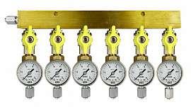 Manifold 6 pipes, shut-off valves, gauge till 25bar, FU6/4