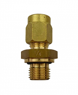 Straight Union KV8 - G1/4', brass G1/4'male with Flange, metric version