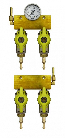 Manifold 2 tanks, pair pre./meas., manometer 1bar, H4+H6