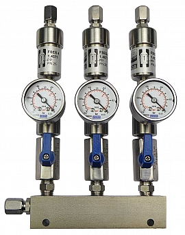 SS-manifold ext. 3 pipes, shut-off valves, gauge -1 to 0bar, ss-CF8/6