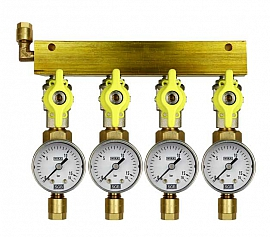 Manifold 4 pipes, shut-off valves, gauge till 16bar, CF8/6
