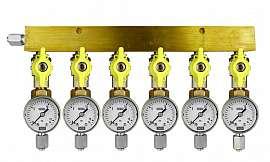 Manifold 6 pipes, shut-off valves, gauge till 16bar, FU6/4
