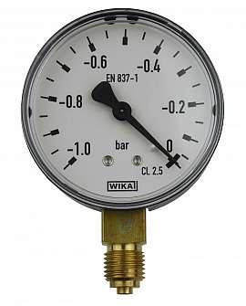 Gauge, NG63, range -1..0bar 1/4' male vertical