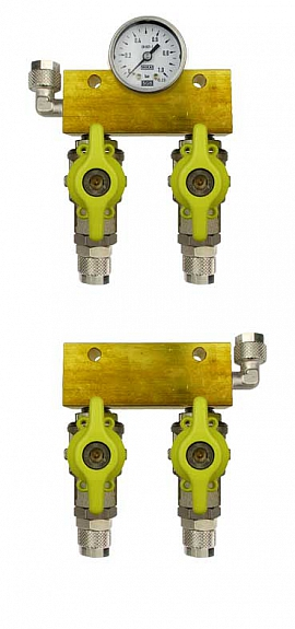 Manifold 2 tanks, pair pre./meas., gauge 1bar, QU8/6