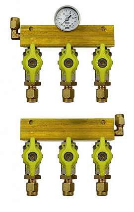Manifold 3 tanks, pair pre./meas., manometer 1bar, CF8/6