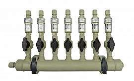 Manifold ext. 7 pipes, shut-off valves, PP8/6