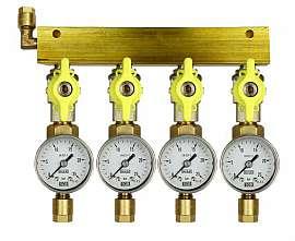 Manifold 4 pipes, shut-off valves, gauge till 25bar, CF8/6