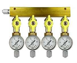 Manifold 4 pipes, shut-off valves, gauge till 25bar, FU6/4