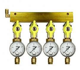 Manifold 4 pipes, shut-off valves, gauge till 4bar, CF6/4