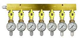 Manifold 7 pipes, shut-off valves, gauge till 25bar, FU6/4