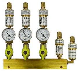 Manifold 3 pipes, shut-off valves, gauge -1 to 0bar, CF8/6