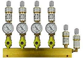 Manifold 4 pipes, shut-off valves, gauge -1 to 0bar, FU6/4
