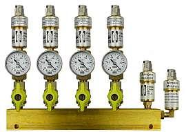 Manifold 4 pipes, shut-off valves, gauge -1 to 0bar, QU8/6