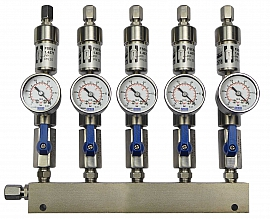 SS-manifold ext. 5 pipes, shut-off valves, gauge -1 to 0bar, ss-CF8/6