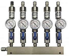 Manifold 5 pipes underpressure, ss, S, valves, mano -1 - 0 bar, ss-CF8/6