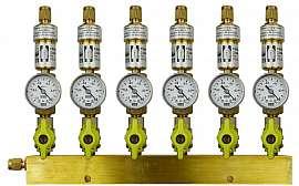 Manifold 6 pipes underpressure, brass, S, valves, mano -1 - 0 bar, CF8/6