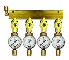 Manifold 4 pipes, shut-off valves, gauge till 4bar, CF8/6