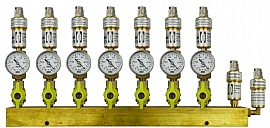 Manifold 7 pipes, shut-off valves, gauge -1 to 0bar, QU8/6