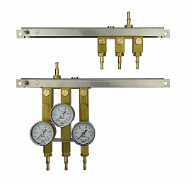Manifold for 3 tanks, gauge 1bar / exit, H4+H6