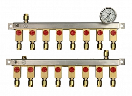 Manifold 8 tanks, gauge 1bar, CF8/6