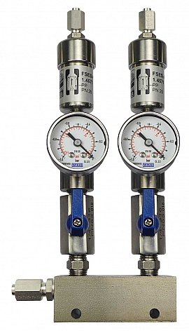 SS-manifold ext. 2 pipes, shut-off valves, gauge -1 to 0bar, ss-FU6/4
