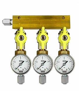 Manifold 3 pipes, shut-off valves, gauge till 4bar, FU6/4
