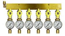 Manifold 6 pipes, shut-off valves, gauge till 25bar, CF8/6