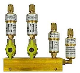 Manifold 2 pipes, shut-off valves, CF8/6