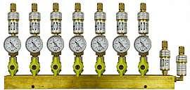 Manifold 7 pipes, shut-off valves, gauge -1 to 0bar, CF8/6