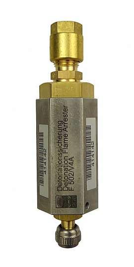 Deto.flame arrester F502 UPP, brass, Schrader valve - CF8/6