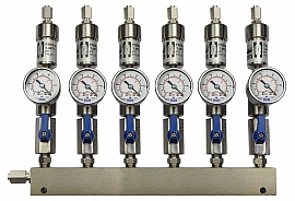 SS-manifold ext. 6 pipes, shut-off valves, gauge -1 to 0bar, ss-FU6/4