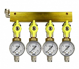Manifold 4 pipes, shut-off valves, gauge till 16bar, QU8/6