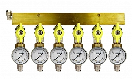 Manifold 6 pipes, shut-off valves, gauge till 16bar, QU8/6