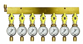 Manifold 7 pipes, shut-off valves, gauge till 4bar, CF8/6