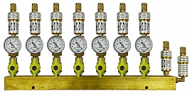 Manifold 7 pipes, shut-off valves, CF8/6
