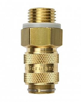 Coupling (brass) with valve B-VLC3-R 1/4'A