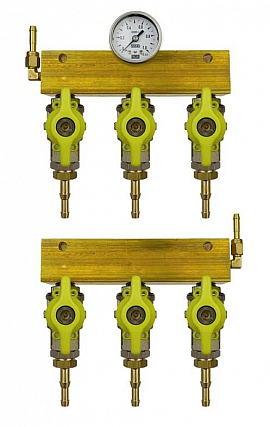 Manifold 3 tanks, pair pre./meas., gauge 1bar, H4+H6