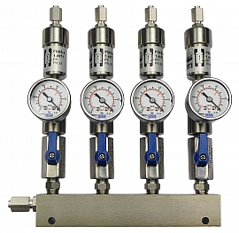 SS-manifold ext. 4 pipes, shut-off valves, gauge -1 to 0bar, ss-FU6/4