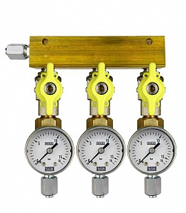 Manifold 3 pipes, shut-off valves, gauge till 16bar, FU6/4