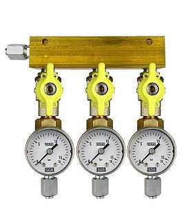 Manifold 3 pipes, shut-off valves, gauge till 16bar, FU6/4