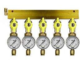 Manifold 5 pipes, shut-off valves, gauge till 16bar, CF6/4