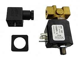 3/2 multi-way-valve,brass,0-7 bar,24V DC electroless closed, duty ratio 100%