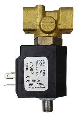 3/2 multi-way-valve, brass, 230 V electroless closed, 0-14 bar