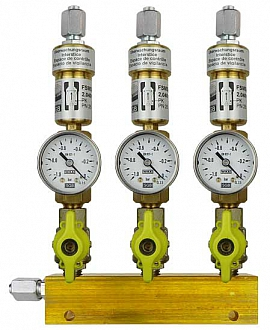 Manifold ext. 3 pipes, shut-off valves, gauge -1 to 0bar, FU6/4