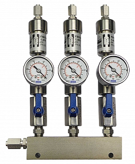SS-manifold ext. 3 pipes, shut-off valves, gauge -1 to 0bar, ss-FU6/4