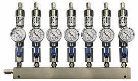 SS-manifold ext. 7 pipes, shut-off valves, gauge -1 to 0bar, ss-FU6/4